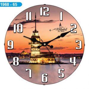 Dekoratif Bombeli Cam Duvar Saati 1968-065 - Kız Kulesi Hızlı Gönderim