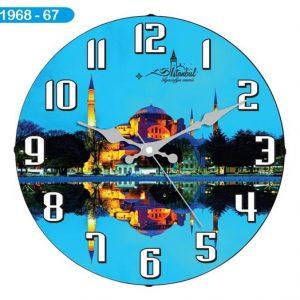 Dekoratif Bombeli Cam Duvar Saati 1968-067 Avrupa Satış