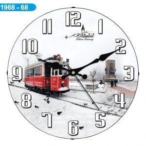 Dekoratif Bombeli Cam Duvar Saati 1968-068 Avrupa Satış