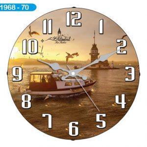 Dekoratif Bombeli Cam Duvar Saati 1968-070 - Kız Kulesi Hızlı Gönderim