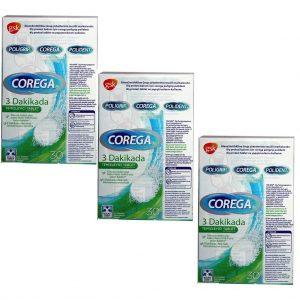 3 Kutu Corega 3 dakika Diş Protezi Temizleyici Tablet