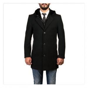 DARKBLUE Sökülebilir Kapşonlu Erkek Uzun Kaşe Kaban Palto Mont Avrupa Sipariş