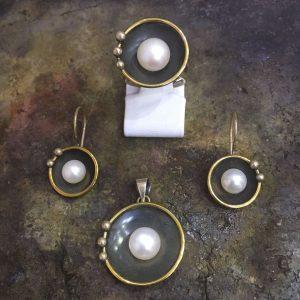 inci taşlı 925 ayar el işi gümüş set