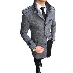 İtalyan kesim slim fit hakim yaka kaşe erkek manto kaban T1868 Hızlı Gönderim