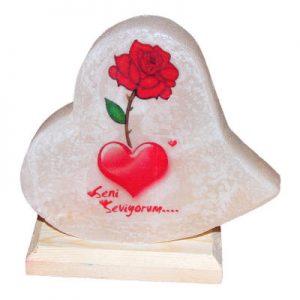 Kalp Desenli Gül Kalp Logolu Kaya Tuzu Lambası 1Kg