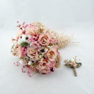 Kuru Güllerden Somon Gelin Buketi Damat Yaka Çiçeği Hediyeli Yurtdışı Sipariş