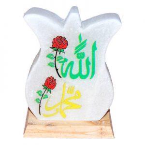 Lale Desenli Allah Muhammet Lafzı Logolu Kaya Tuzu Lambası 2Kg