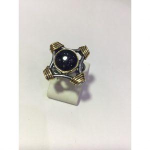 Mavi yıldız taşlı otantik gümüş yüzük 925 ayar el işi