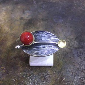 Mercan taşlı 925 ayar el işi gümüş yüzük doğal taş
