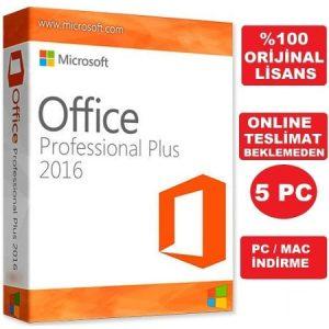 Microsoft Office 2016 Pro Professional Plus Süresiz Lisans 5 PC Hızlı Kargo