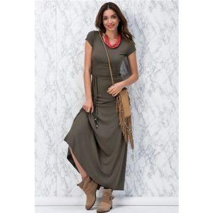 Yeni Model Yeşil Uzun Bayan Elbisesi Hızlı Gönderim
