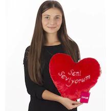 36 Cm Kırmızı Kalp Yastık Seni Seviyorum