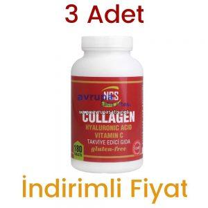 3 Adet NCS Collagen Hyaluronic Acid Vitamin C Takviye Edici Gıda