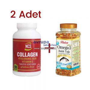 2 Adet Ncs Collagen Hyaluronic Acid Vitamin C ve Balen Omega 3 Balık Yağı Kapsül