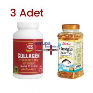 3 Adet Ncs Collagen Hyaluronic Acid Vitamin C ve Balen Omega 3 Balık Yağı