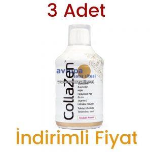 3 Adet Collazen Hidrolize Ahududulu Kollajen Sıvı Glukozamin Msm 3 x 500 ML