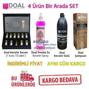 Doal Keratin Sütü + Serumu + Pembe Sprey + Şampuan 4'ü bir Arada Set