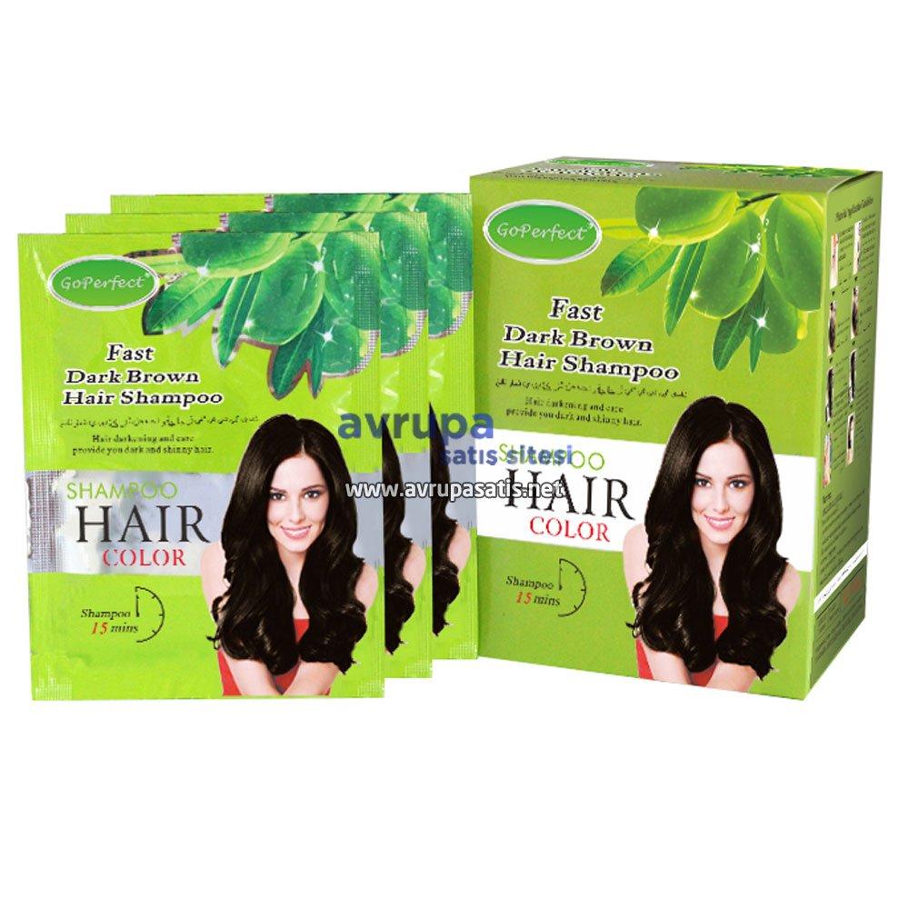 GoPerfect Saç Renklendirici Şampuan Koyu Kahverengi 10 Adet 30 ML Şase