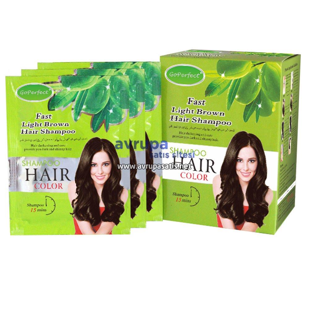 GoPerfect Saç Renklendirici Şampuan Açık Kahverengi 10 Adet 30 ML Şase