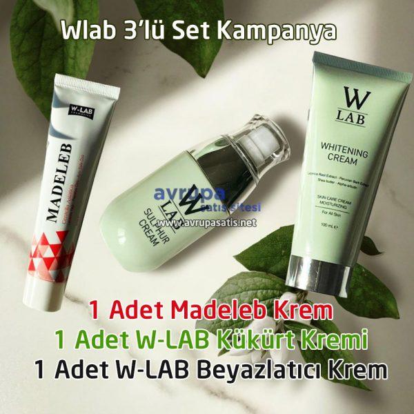 W-Lab 3'lü Set Kampanya Madeleb Krem Kükürt Kremi Beyazlatıcı Krem