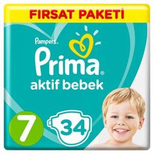 Prima Aktif Bebek Bezi Fırsat Paketi 7 Beden Large 34 Adet