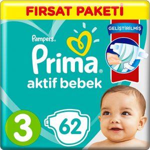 Prima Bebek Bezi Aktif Bebek 3 Beden 62 Adet Midi Fırsat Paketi