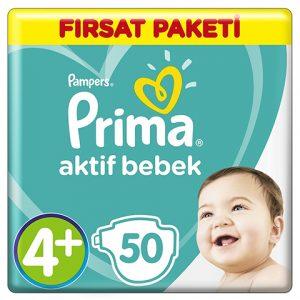 Prima Bebek Bezi Aktif Bebek 4+ Beden Maxi Plus Fırsat Paket 50 Adet