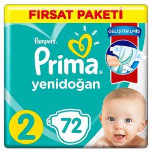 Prima Bebek Bezi Aktif Fırsat Paketi Yenidoğan 2 Beden Mini 72li