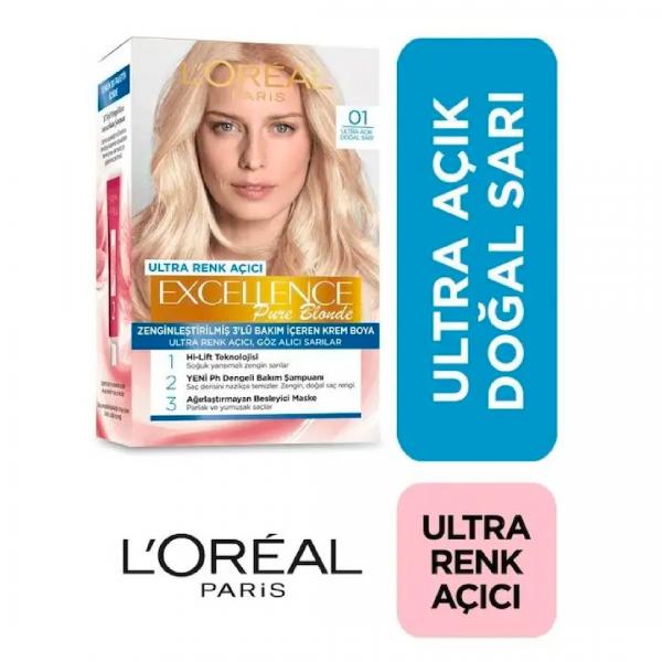 Loreal Excellence Saç Boyası 01 Ultra Açık Doğal Sarı