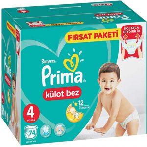 Prima Külot Bebek Bezi 4 Beden Maxi Fırsat Paketi 74lü