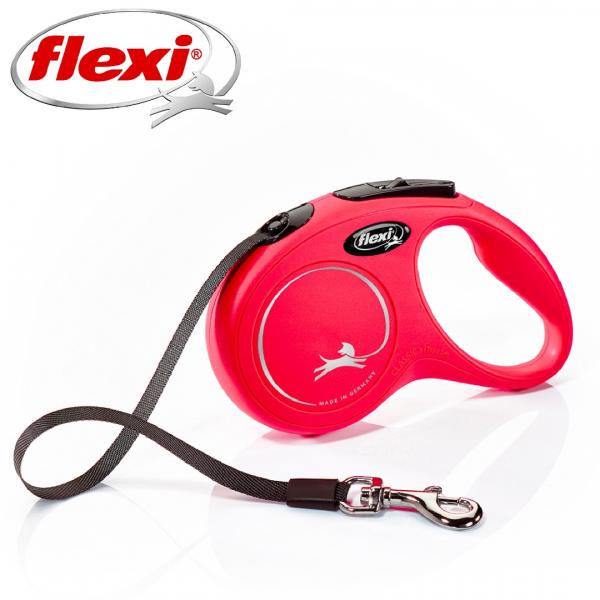 Flexi New Classic Otomatik Şerit Köpek Gezdirme Kayışı 5m (Kırmızı) [S]