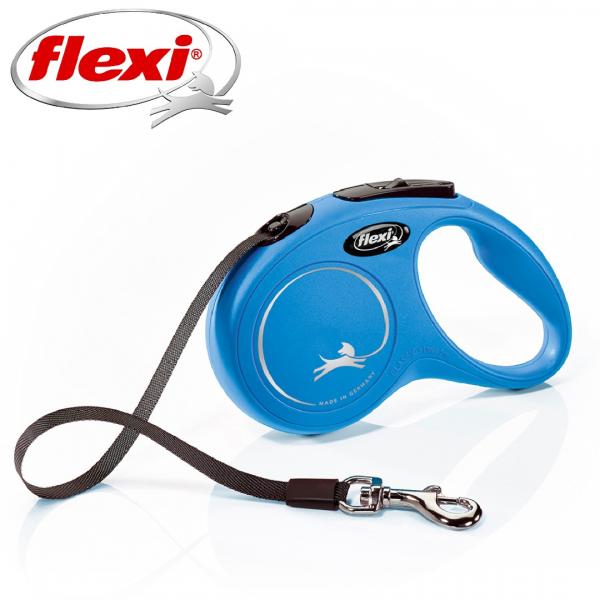 Flexi New Classic Otomatik Şerit Köpek Gezdirme Kayışı 5m (Mavi) [S]