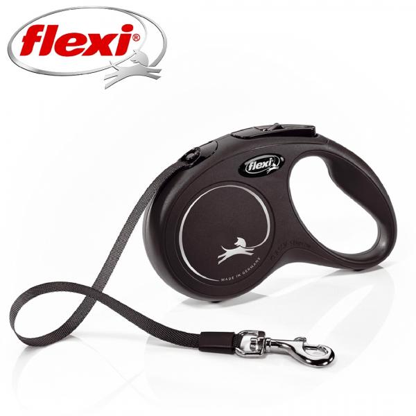 Flexi New Classic Otomatik Şerit Köpek Gezdirme Kayışı 5m (Siyah) [S]
