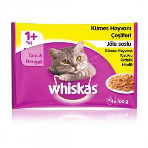 Whiskas Kümes Hayvanlı Yetişkin Konserve Kedi Maması 4x100 Gr