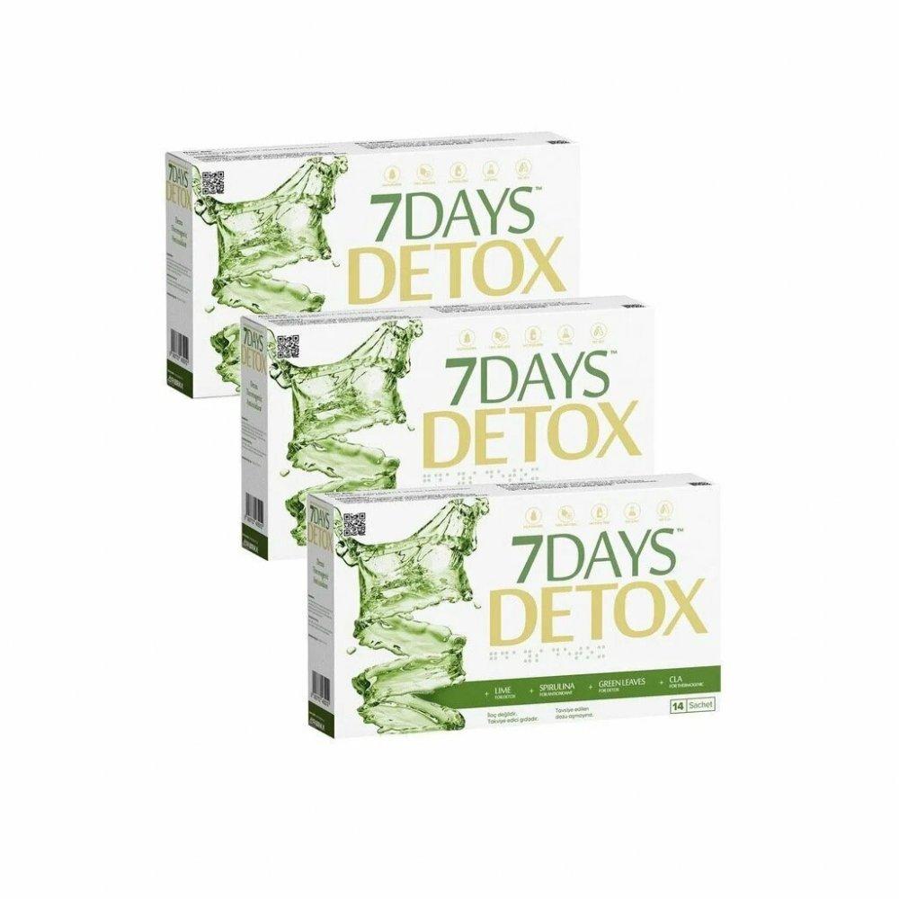3 ADET 7 DAYS DETOX - Spirulina CLA Yeşil Çay ve Lime - 14 Saşe